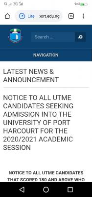 UNIPORT announces 2020 Post-UTME screening cut-off score