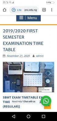FedPoly Nekede 1st semester exam timetable for 2019/2020 session