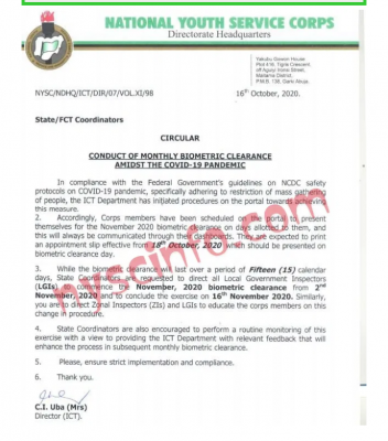 NYSC notice on monthly biometric clearance