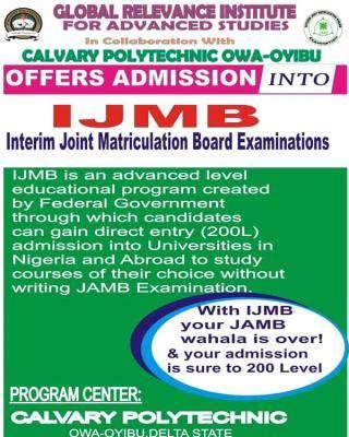 Calvary Polytechnic IJMB admission for 2021/2022 session