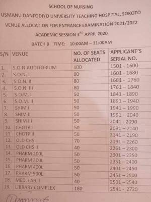 UDUTH schedule for entrance exam, 2021/2022