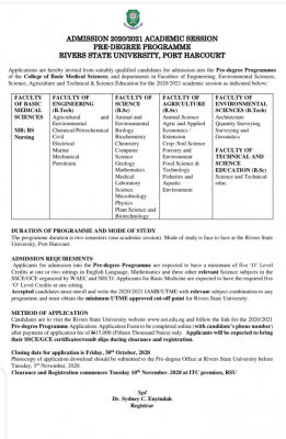 RSUST pre-degree admission form for 2020/2021 session