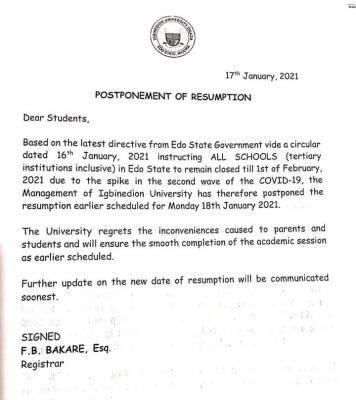 Igbinedion University postpones resumption