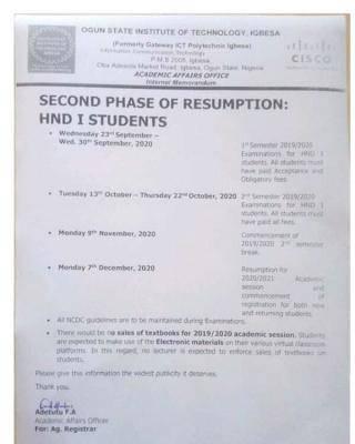 OGITECH 2nd phase resumption and exam dates for HND I students