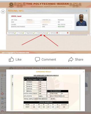The Polytechnic Ibadan ND Post-UTME screening result, 2020/2021