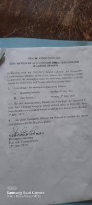 Nasarawa State Schools 3rd term resumption date