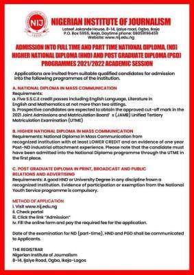 NIJ admission forms for 2021/2022 session