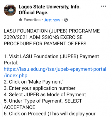LASU acceptance fee payment procedure for admitted JUPEB students, 2020/2021