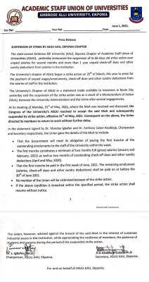 AAU ASUU announces suspension of strike