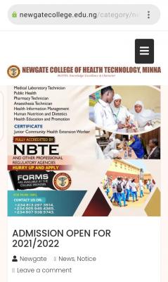 Newgate College of Health Technology, Minna admission form, 2021/2022