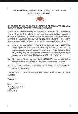 LAUTECH update on payment of reparation fee