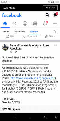 FUNAAB notice to students on SIWES enrolment and deadline