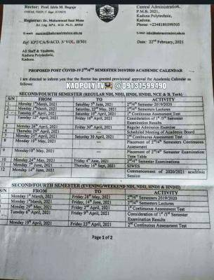 Kaduna Polytechnic 2nd/4th semester 2019/2020 academic calendar