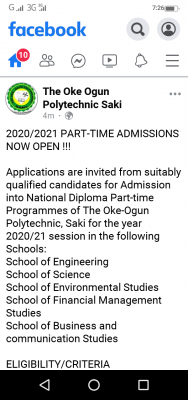 Oke-Ogun Polytechnic, Saki part time admission form for 2020/2021 session