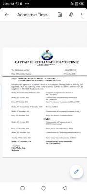 Captain Elechi Amadi Polytechnic resumption and revised academic calendar