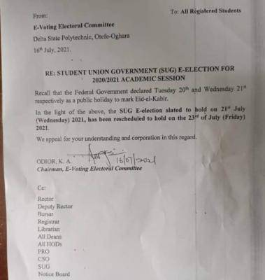 Delta Poly Otefe-oghara reschedules SUG elections