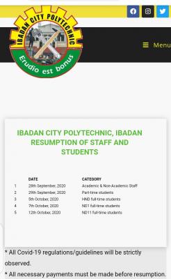 Ibadan City Polytechnic resumption of academic activities