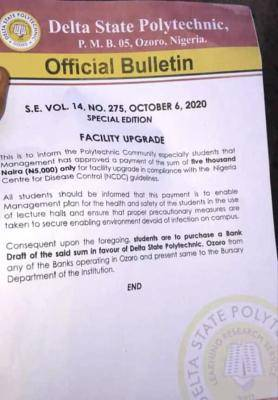 Delta State Polytechnic Ozoro Issues Facility Upgrade Notice to students
