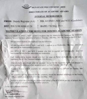 OSPOLY, Iree matriculation notice to students, 2020/2021