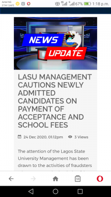 LASU cautions newly admitted students on payment of acceptance and school fees