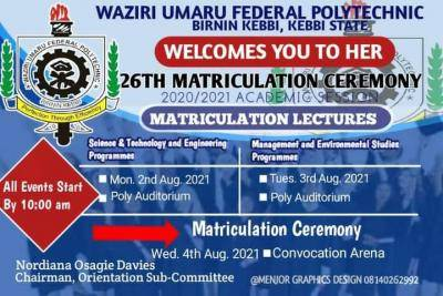 Waziri Umaru Federal Polytechnic announces 26th matriculation ceremony