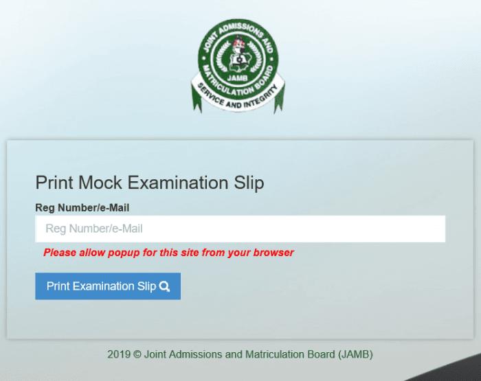 JAMB 2019 Mock Exam Slip Printing