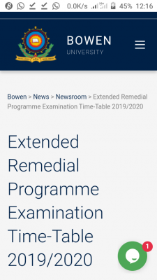 Bowen University extended remedial programme exam time-table for 2019/2020