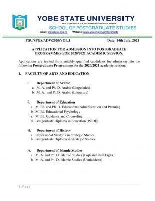 YSU postgraduate admission form, 2020/2021 session