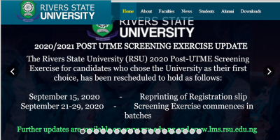 RSUST Post-UTME screening date for 2020/2021 session announced