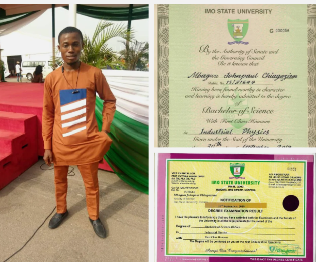 IMSU student breaks 39-years-old record, bags a first class in industrial physics