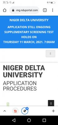 NDU supplementary post-UTME screening date, 2020/2021