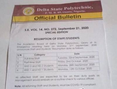 Delta State Poly Ozoro  announces resumption date