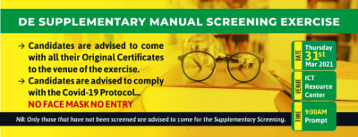 MOUAU supplementary Direct Entry manual screening for 2020/2021 session
