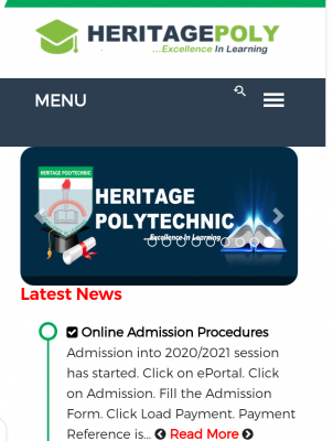 Heritage Polytechnic Post-UTME 2020: Cut-off mark, Eligibility and Registration details