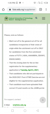 FUTO extends supplementary admission deadline for 2020/2021 session