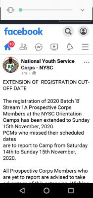 NYSC extends orientation camp registration deadline for 2020 Batch 'B' stream I A