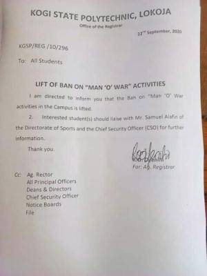 Kogi State Polytechnic lifts ban on MAN 'O' WAR activities in the school