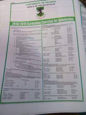 UNN Post-UTME 2018 Screening Dates And Exam Schedule