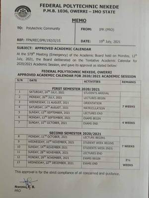 Fed Poly, Nekede 2020/2021 academic calendar