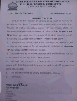 Umar Suleiman College of Education announces resumption date