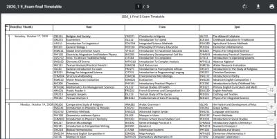NOUN 2020_1 E-Exam Final Examination Timetable