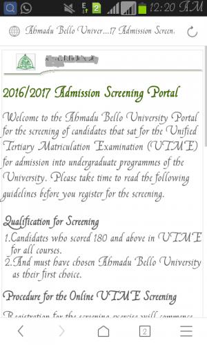 ABU Admission Screening Registration 2016/2017 Announced