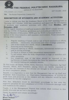 FEDPOLY Nasarawa Announces Resumption Date