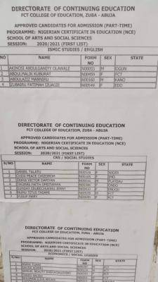 FCT College of Education, Zuba 1st Batch NCE Part-time admission List