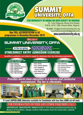 Summit University Post-UTME 2020/2021: Eligibility, Cut-off Mark And Registration Details