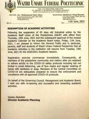 Waziri Umaru Federal Poly announces resumption