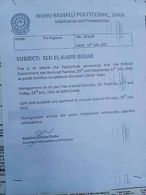 NUBAPOLY announces Sallah Break