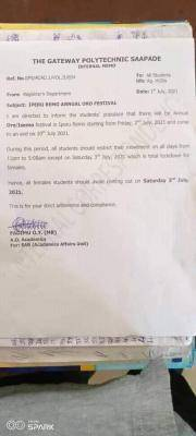 Gateway Polytechnic notice to all students