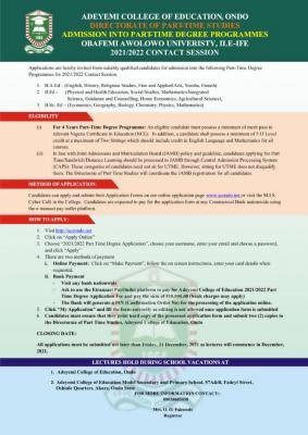ACEONDO part-time degree admission, 2021/2022
