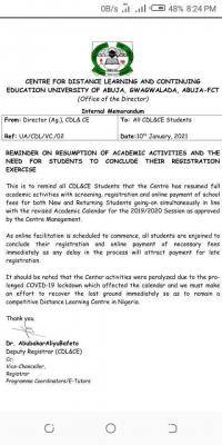 UNIABUJA Centre for Distance Learning notice on resumption